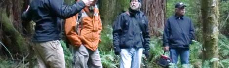 The Two Seans: Sean Case (GRWC) and Sean Gallagher (CDF&G) talk to spawning survey volunteers Chuck Miller and Ken Spacek during GRWC training.