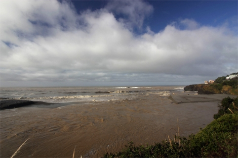 Gualala River at the mouth during January flows 2012 (~400cfs)